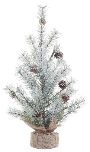 "Artificial Tree - ""Artificial Icy Pine Tree With Burlap Base"" 18"""
