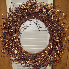 Artificial Wreath - Berry And Star Wreath - 20 Inch