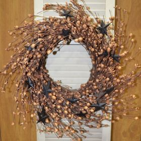 "Artificial Wreath - ""Black/Tan Berry And Star Wreath"" - 16"""