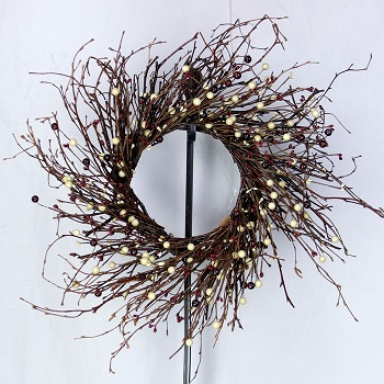 "Artificial Wreath - ""Burgundy & Cream Berry Wreath"" - 20"""