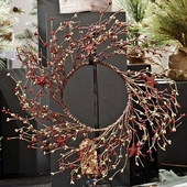 "Artificial Wreath - ""Holiday Pip Berry  Wreath With Stars"" - 14"""