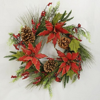 "Artificial Wreath - ""Holiday Poinsettia Wreath"" - 24"""