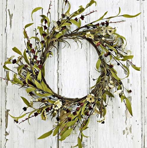 "Artificial Wreath - ""Mixed Flower Wreath - Teastain"" - 20"""