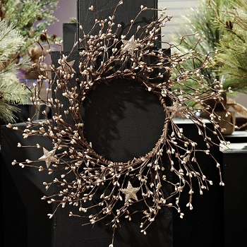 """Artificial Wreath - """"Platinum Pip Berry Wreath With Stars"""" - 14"""""""