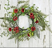"""Artificial Wreath - """"Red Aster Daisy Wreath"""" -16"""""""