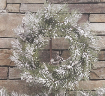 """Artificial Wreath - """"Snowy Pine Wreath with Pine Cones"""" -  24"""""""
