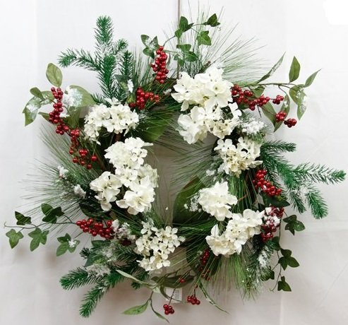 "Artificial Wreath - ""White Hydrangea Wreath"" - 22"""