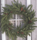"Artificial Wreath - ""White Spruce Wreath"" - 21"""