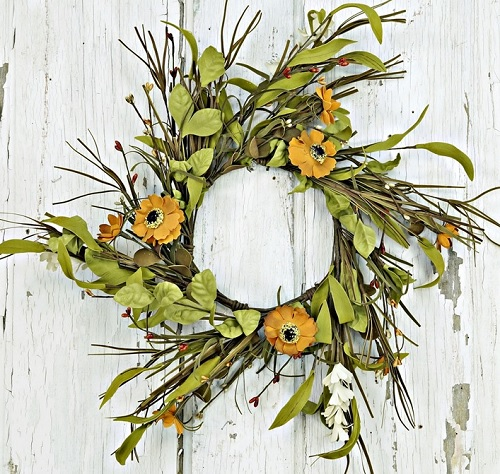 "Artificial Wreath - ""Wild Daisy Wreath"" - 14"""