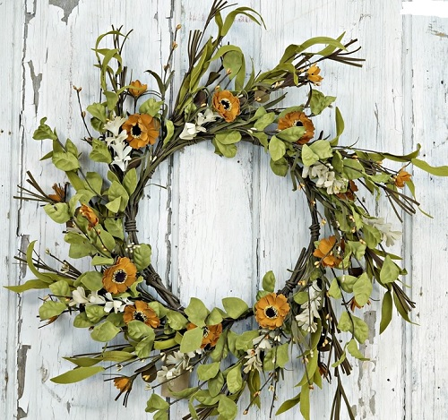 "Artificial Wreath - ""Wild Daisy Wreath"" - 20"""