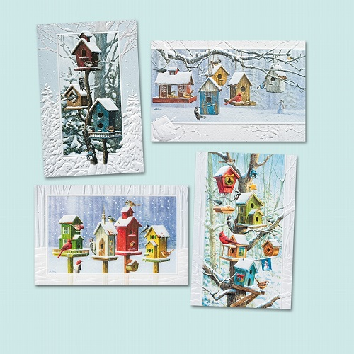 "Assorted Boxed Christmas Cards - ""Bright Birdhouses"""