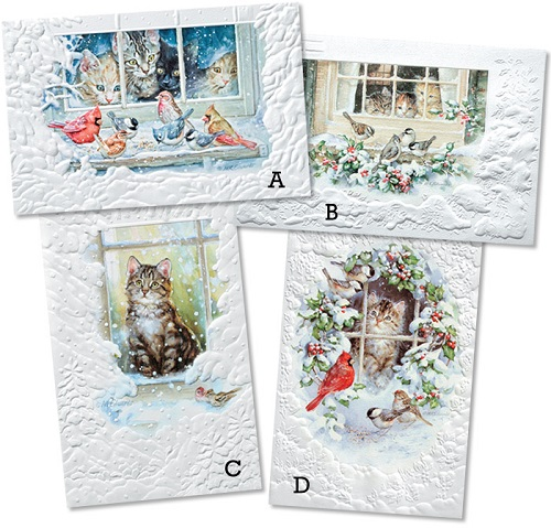 """Assorted Boxed Christmas Cards - """"Meow Mix"""""""
