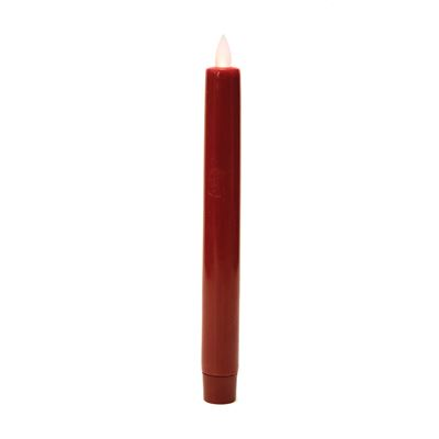 "Battery Operated Taper Candle -""Red Battery Operated Taper Candle"" - 8"""