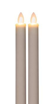 Flameless Taper Candle - Mirage LED - White - 9in - 2pk