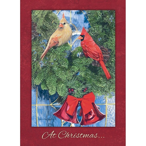 "Boxed Christmas Cards - ""Cardinal Wreath"""