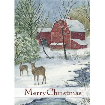 "Boxed Christmas Cards - ""Red Barn & Deer"""