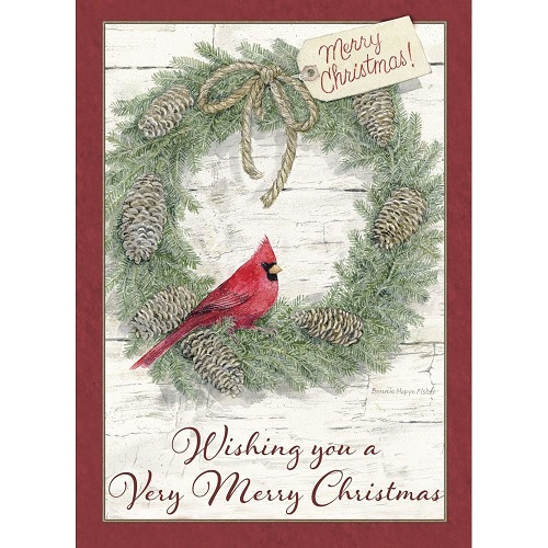 "Boxed Christmas Cards - ""Wreath With A Cardinal"""