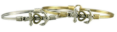 "Bracelet - ""Luca + Danni Anchor With Heart Bangle - Brass"""