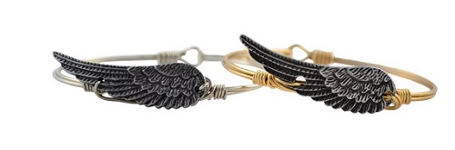 "Bracelet - ""Luca + Danni Angel Wing Bangle - Brass"""