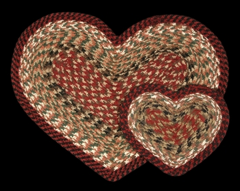 "Braided Heart Shaped Placemat - 12"" x 17"" - ""Burgundy/Mustard"""