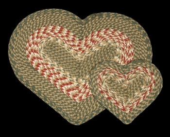 "Braided Heart Shaped Placemat - 12"" x 17"" - ""Green/Burgundy"""