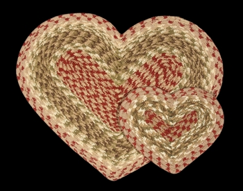 "Braided Heart Shaped Placemat - 12"" x 17"" - ""Olive/Burgundy/Gray"""