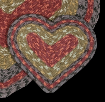 "Braided Heart Trivet - 8"" x 7"" - ""Burgundy/Olive/Charcoal"""