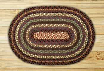 "Braided Miniature Oval - 10"" x 15"" - ""Burgundy/Blue/Black"""