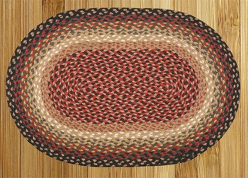 "Braided Miniature Oval - 10"" x 15"" - ""Burgundy/Charcoal/Dusty Rose"""