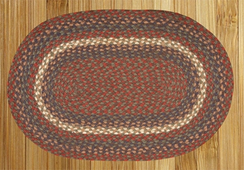 "Braided Miniature Oval - 10"" x 15""  - ""Burgundy/Gray"""