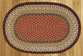 "Braided Miniature Oval - 10"" x 15""  -  ""Burgundy/Mustard"""