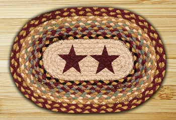"Braided Miniature Oval - 10"" x 15"" - ""Burgundy Stars"""