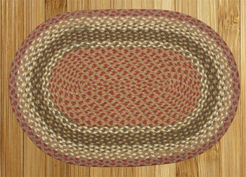 "Braided Miniature Oval  - 10"" x 15""  - ""Olive/Burgundy/Gray"""