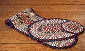 "Braided Oval Placemat - 13"" x 19"" - ""Burgundy/Mustard"""