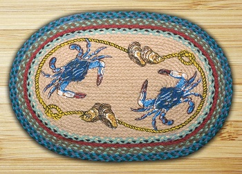 "Braided Oval Rug"" - 20"" x 30"" - ""Blue Crab"""