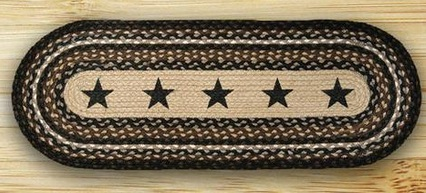 "Braided Oval Table Runner - ""13"" x 48"" - ""Black Star"""