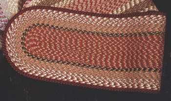 "Braided Oval Table Runner  - ""13"" x 48"" - ""Burgundy/Mustard"""