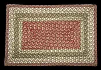 "Braided Rectangle  Rug - 20"" x 30""  - ""Olive/Burgundy/Gray"""