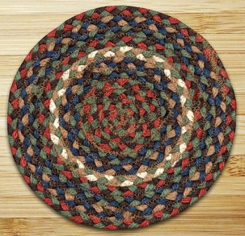 "Braided Round Trivet - 10"" - ""Burgundy/Gray"""
