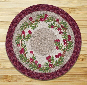 "Braided Round Trivet - 10"" - ""Cranberries"""