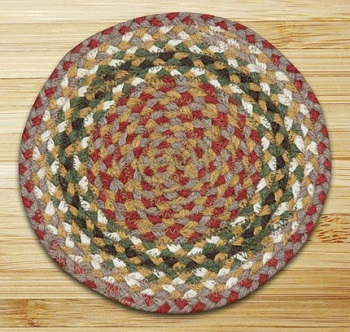 "Braided Round Trivet - 10"" - ""Olive/Burgundy/Gray"""