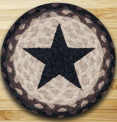 "Braided Round Trivet - 10"" Round"" - Black Star"