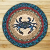 "Braided Round Trivet - 10"" Round"" - Blue Crab"