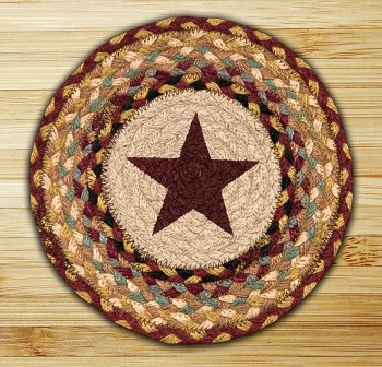 "Braided Round Trivet - 10"" Round"" -  Burgundy Star"