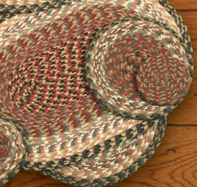 "Braided Round Trivet - 8"" Round - ""Burgundy/Gray/Cream"""