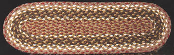 "Braided Stair Tread - ""Olive/ Burgundy/ Gray"" - 27"" x 8.25"""