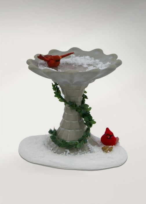 Byers Choice Caroler Accessory - Family with Cardinals Birdbath 2017