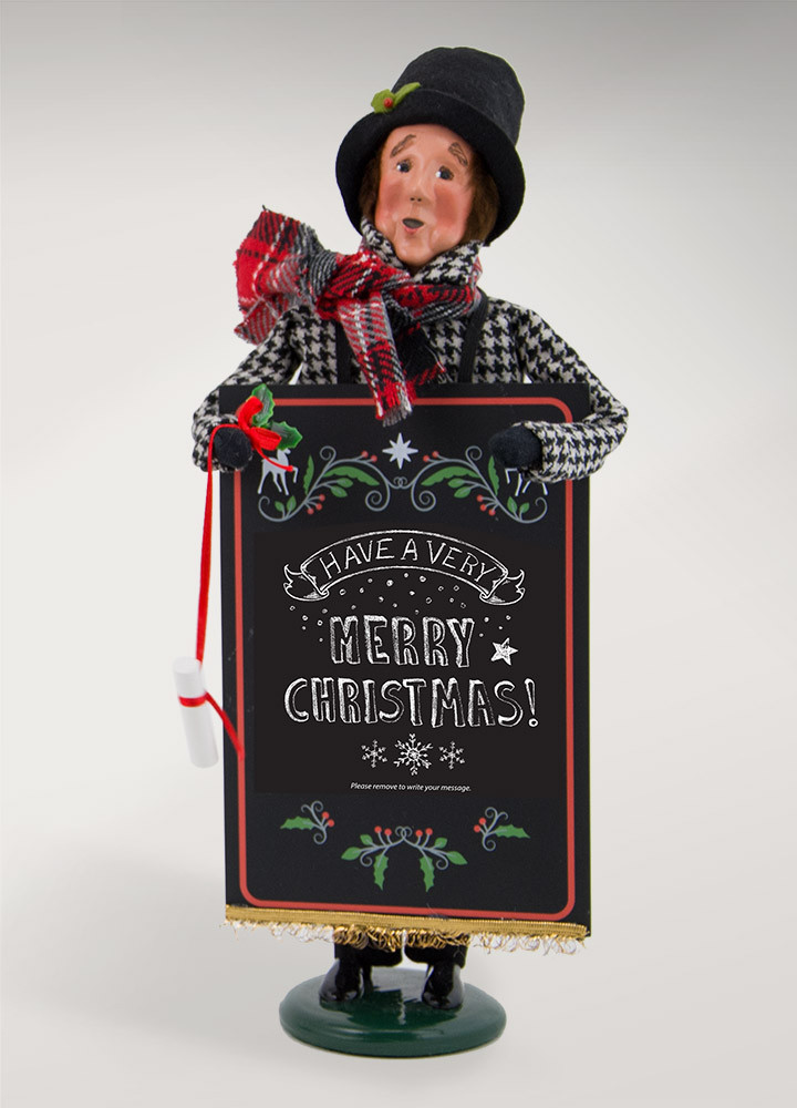 "Byers Choice Caroler - ""Man with Chalkboard"" 2018"