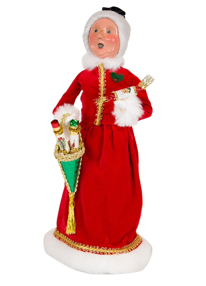 Byers Choice Caroler - Red Velvet Mrs. Claus with Candy Container 2018