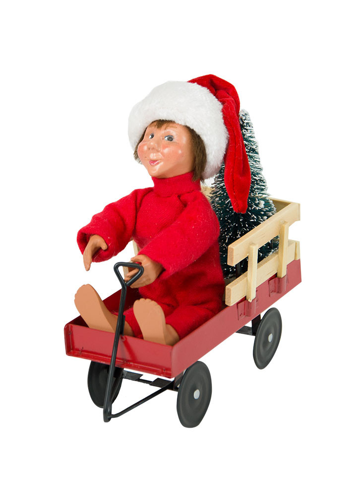 Byers Choice Caroler - Toddler Boy with Wagon 2018